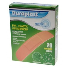 DURAPLAST CLEAR WATERPROOF SENSITIVE PLASTERS, 20 PACK, 2 SIZE